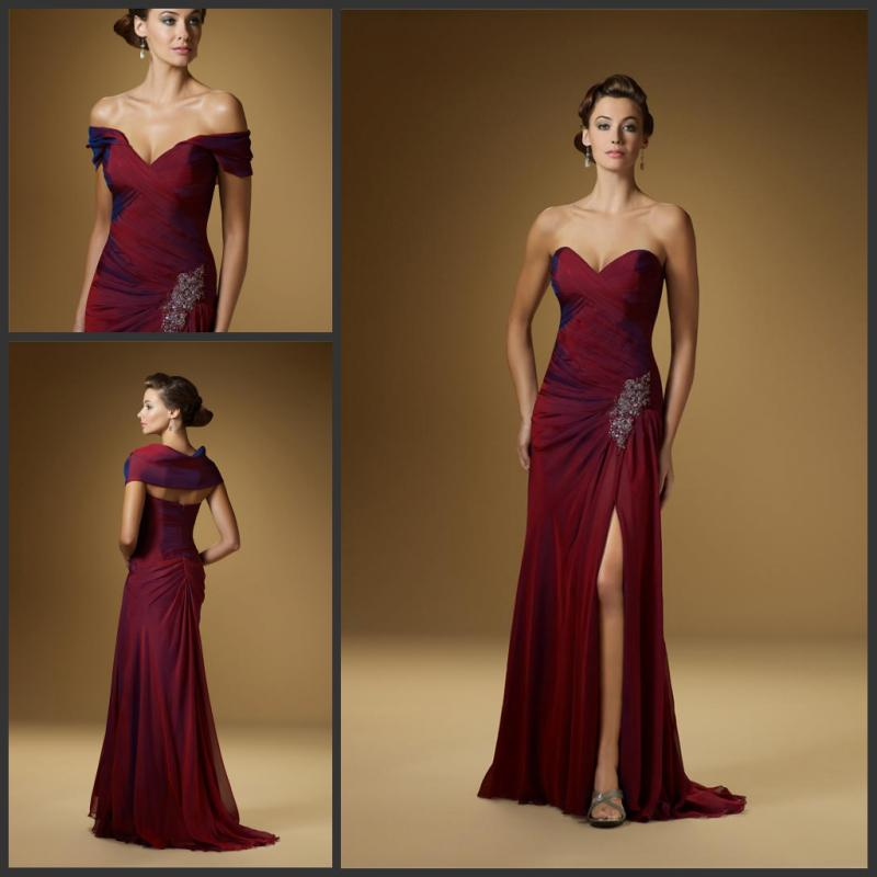 Elegant Burgundy Sweetheart With Wrap Chiffon Mother Of The Bride ...