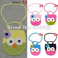 Wholesale Kids Knit Purse - baby Kids Handmade Crochet Cute Owl Bag Crochet Children Owl Bag Baby Knit Purse Aminal 10pcs lot