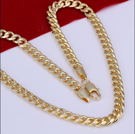 Hohe Qualität 7MM 20inches überzogene 18K Goldcharme-Kettenhalsketten-Mannschmucksachen geben Verschiffen frei