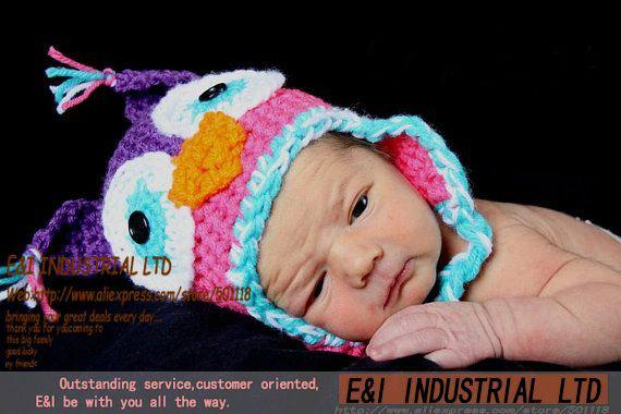 2018 Hand Made Crochet Baby Owl Hat Little Hoot Owl Beanie Earflap ...
