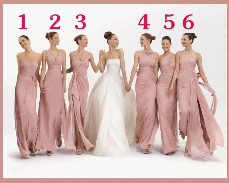 Compre Vestidos De Dama De Honor Largos 2017 Moda Rosa Claro Gasa ...
