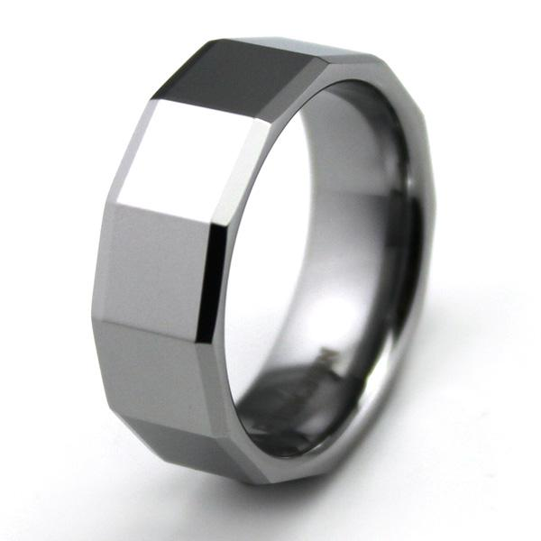 Customized Mens Faceted Tungsten Carbide Ring Comfort Fit Wedding Band 8mm Size US 7 8 Silver Tone TU021R