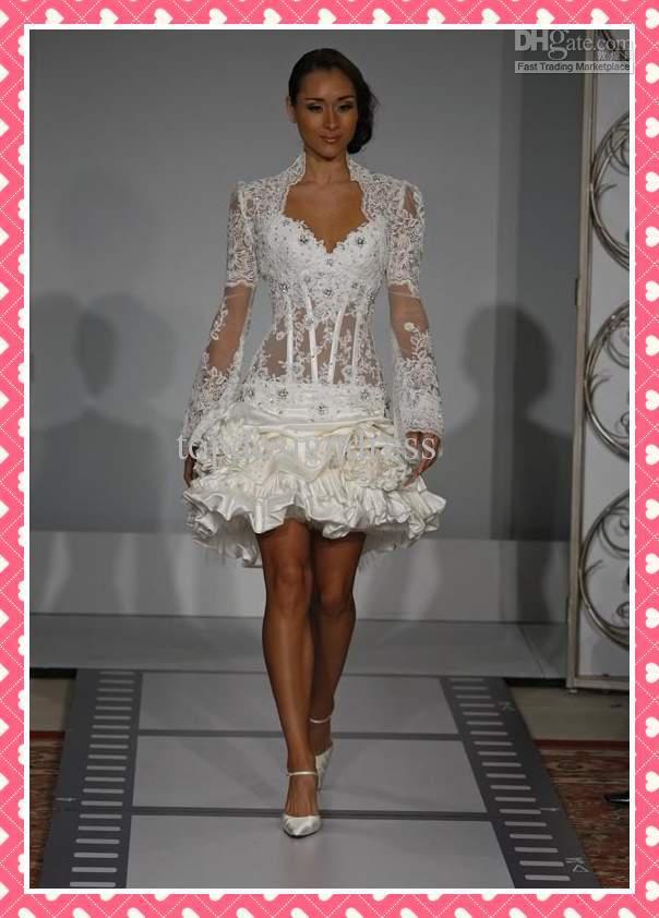 2012 hot sale short wedding dress sexy sheath asymmetrical long sleeves lace satin bridal gowns