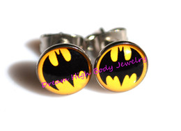 Wholesale Designed Body Jewelry - Batman Earring Stud Ear Ring Nail Popular Men's Jewelry Cool Hot Sale Body Piercing USA Oil Design