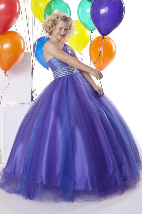 Hot Sale Attractive Purple One Shoulder Children\'S Pageant Dress ...