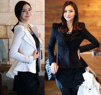 Wholesale Women S White Tuxedo Jacket - Women clothing one button blazers suits coats casual lapel blazer tuxedo tail coat jacket outerwear