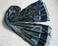 Wholesale Black Beaded Scarves - Peacock Beaded Floral velvet shawl- DARK TEAL 15#