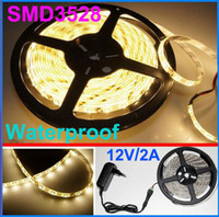 50m blanco cálido 3528 300leds flexible impermeable Strip SMD LED 5m adaptador + power + nave vía DHL