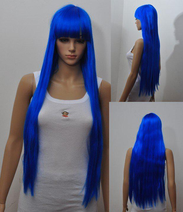 Long Straight Blue Hair Anime Long Cosplay Wigs Halloween Party