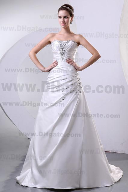 2013 New Elegant Strapless Beaded Applique A-line Satin Wedding Dresses DH003919