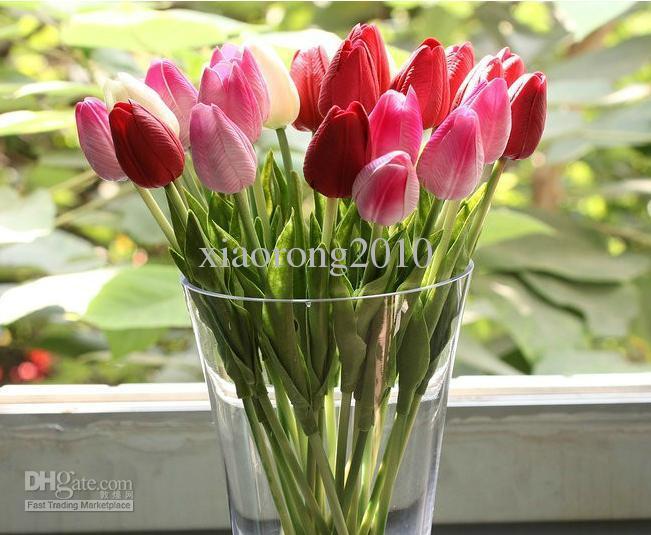 Látex Real Touch Tulipanes Flores 24 unids 30 cm PU Simulación Artificial Tulip Flor para la boda Ramos de Novia Decoración Del Hogar