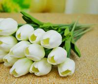 tulipas artificiais de látex venda por atacado-Látex Real Toque Tulipas Flores 24 pcs 30 cm PU Artificial Simulação Tulipa Flor para o Casamento De Noiva Bouquets de Decoração Para Casa
