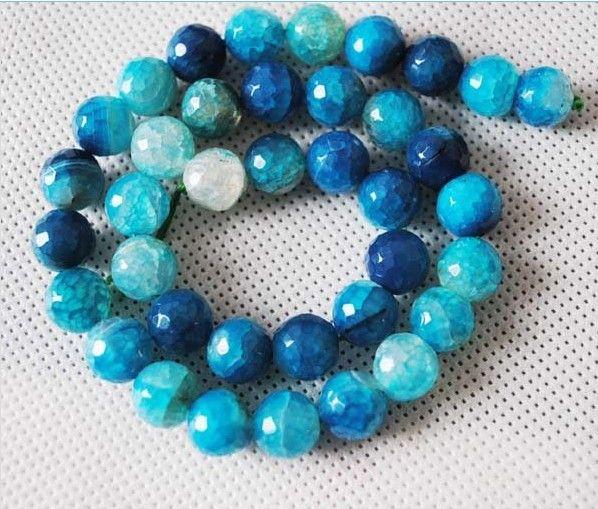 Elegante superficie tallada ágata de color azul de 6 mm 8 mm 12 mm 14 mm accesorios de perlas de joyería de 10 mm