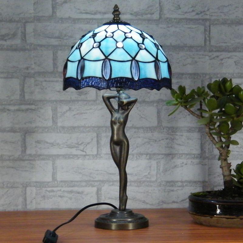 Tiffany Table Lamp Blue Lighting Fashion Bedroom Bedside Lamp Multicolour  Lamps