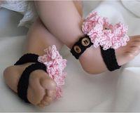 Wholesale Wholesale Custom Sandals - crochet pattern baby girl shoes sandals flowers barefoot straps 0-12M cotton custom