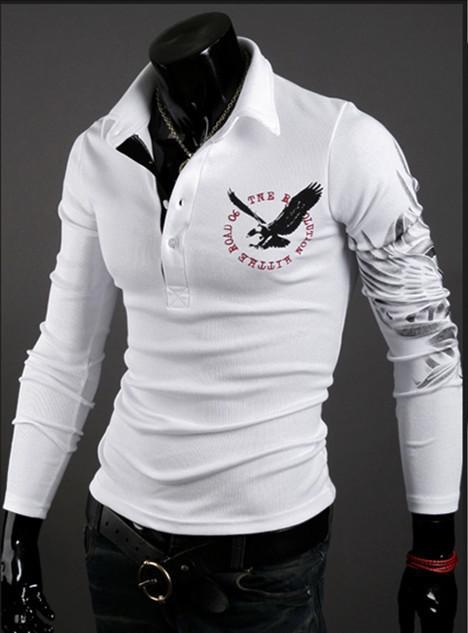 nouvelle mode aigle tatouage chemise mince top vente à manches longues chemise polo designer t shirt