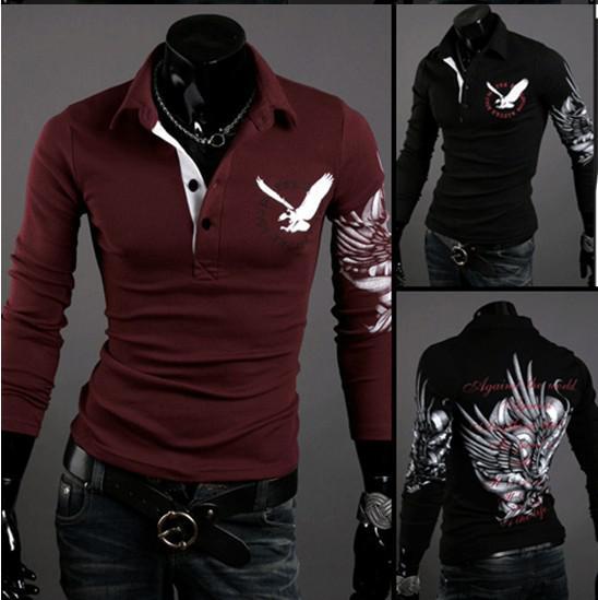 новая мода Орел татуировки тонкий рубашка мужская топ продать с длинным рукавом рубашки поло дизайнер футболка