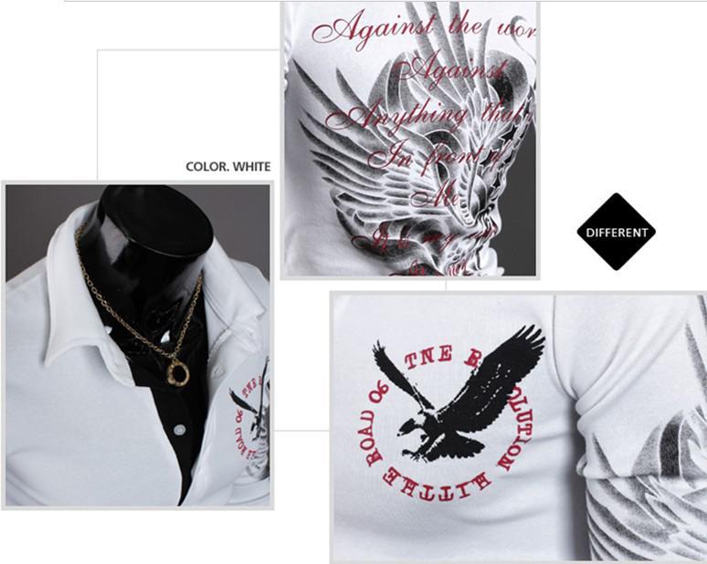 nueva moda águila tatuaje delgado camisa de los hombres de la venta superior de manga larga camisa de POLO diseñador camiseta