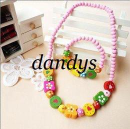 Wholesale Necklace Bracelet Wood Set - Freeshipping! New Baby Kids Girls Wood Necklace & Bracelet Set   handmade Jewelry Set  Fashion   Who