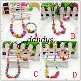 Wholesale Necklace Bracelet Wood Set - Freeshipping! NEW kids Candy colorful Acrylic beaded necklace & Bracelet Set  baby Children Jewelry
