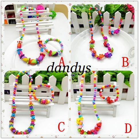 Kostenloser Versand! NEUE Kinder Süßigkeit bunte Acryl Perlen Halskette Armband Set / Baby Kinder Schmuck