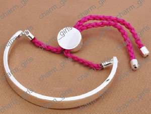 Wholesale Retail Silver FIJI Bangle Links Friendship Charm Bracelets Size Adjustable U Choice colors