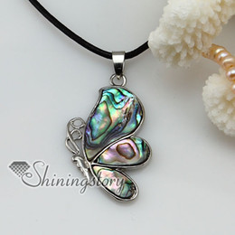 Wholesale Butterflies Jewellery - butterfly seawater rainbow abalone mother of pearl seashell necklaces pendants jewelry jewellery Mop8037 cheap china fashion jewellery