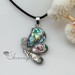 Porcellana di gioielli di perle online-farfalla acqua di mare arcobaleno abalone madreperla conchiglia conchiglia collane gioielli gioielli Mop8037 economici cina moda gioielli