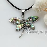 Wholesale Wholesale Abalone Pendants - dragonfly seawater rainbow abalone mother of pearl seashell necklaces pendants jewlery Mop8041 cheap china fashion jewellery