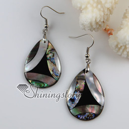 mother pearl oyster shells UK - tear drops patchwork seawater rainbow abalone Penguin oyster shell mother of pearl dangle earrings
