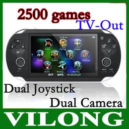 "Wholesale Mp5 Game 4gb - 4.3"" TFT Screen 4GB Handheld Game mp5 Player mp3 Player mp4 Player With Dual Joystick Camera FM TV-O"