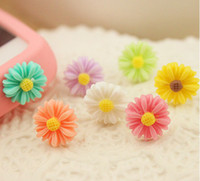 Wholesale Headset Jack Dust Caps - 100pcs Headset Jack Chrysanthemum Flower Earphone Anti Dust Plug Dustproof Ear Cap for iPhone 4 4S 5