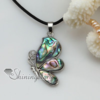 Wholesale Butterflies Jewellery - butterfly seawater rainbow abalone mother of pearl seashell necklaces pendants jewelry jewellery cheap necklaces