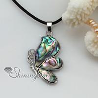 ana mücevherat toptan satış-Kelebek deniz suyu gökkuşağı abalone sedef deniz kabuğu kolye kolye takı mücevher ucuz kolye
