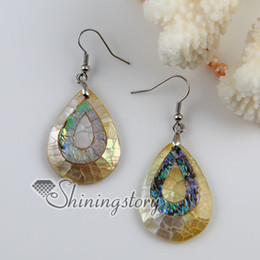 Wholesale Yellow Pearl Dangle Earrings - teardrop patchwork seawater rainbow abalone yellow oyster shell mother of pearl dangle earrings abalone shell earring