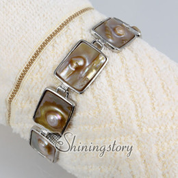 Wholesale Oblong Pearls - oblong freshwater pearl bracelets with charms shell jewellry Handmade bracelets Fashion jewelry cheap fashion jewlery