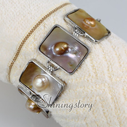 Wholesale Oblong Pearls - oblong freshwater pearl shell mother of pearl toggle charms bracelets jewelry jewellery