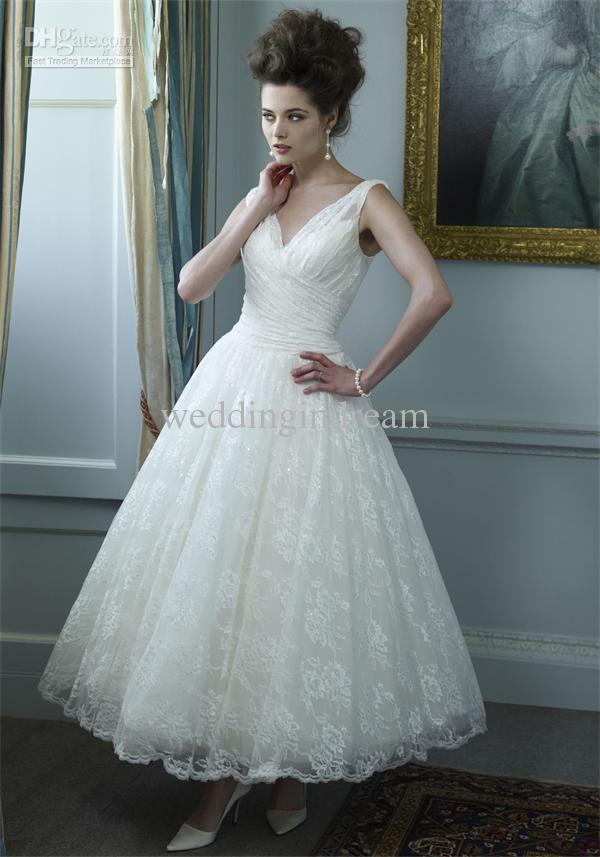 Mid length lace wedding dress