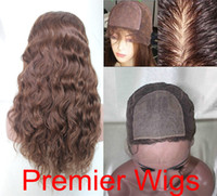 "Wholesale Hand Tie Wig Caps - Top Quality Silk Base Wigs 100% Human Hair Charming 14-18"" Natural Wave 4# Silk Base Full Lace Wigs For Women Medium Cap Size"