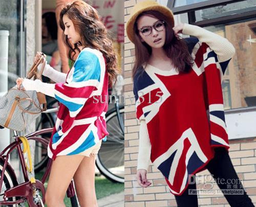 女性のセータープラスサイズイギリスの旗プリントルーズニットバットウィットスリーブポンチョケープセーターハイツコート冬トップアウターウェア