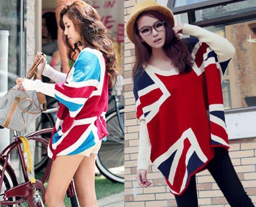 Femmes Sweater Plus Taille Drapeau Royaume-Uni Imprimé Knits lâche Lâche Batwing Sleeve Poncho Cape Pullshirts Manteau Hiver Top Vêtements d'extérieur