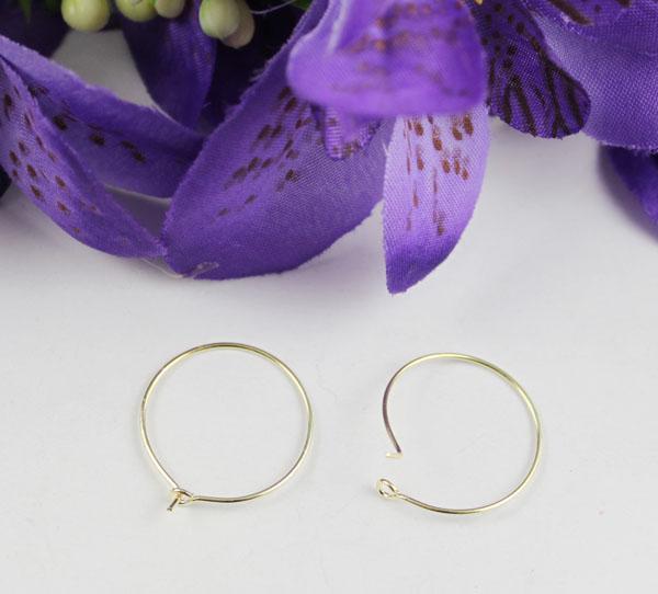 Placa De Ouro Vinho De Vidro Charme Hoop Arame Earings 20mm # 22527
