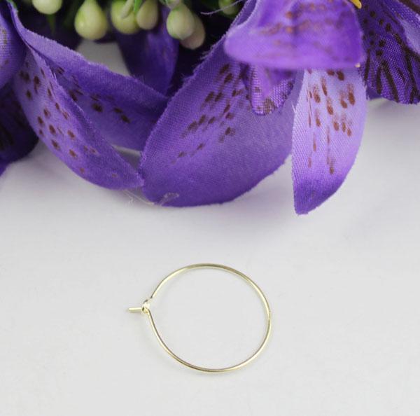 200 piezas de placa de oro de cristal de vino encanto aros de aro de alambre 20mm # 22527