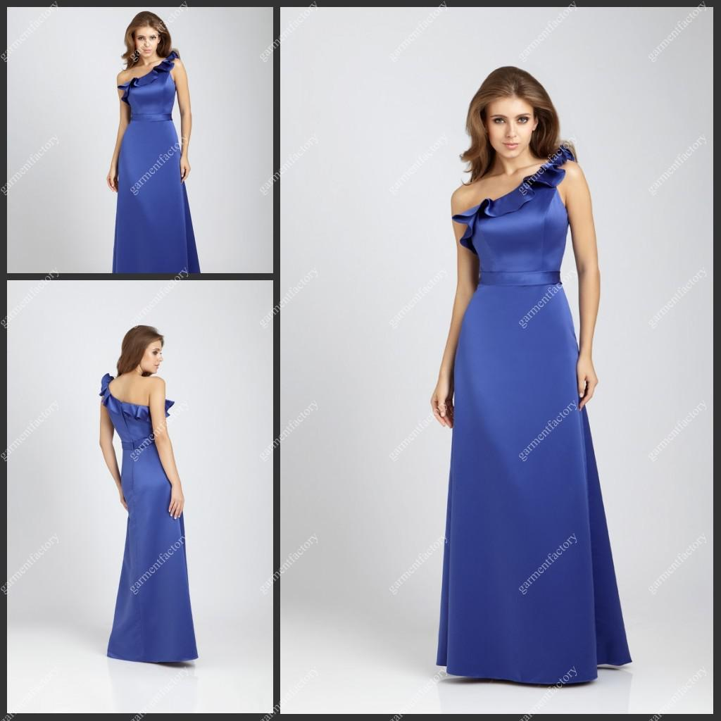 One Strap Asymmetrical Ruffled Neckline Long Satin Royal Blue ...
