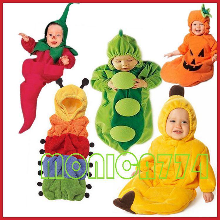 Mooie baby's erwt / banaan / pinguïn / chili / pompoen slaapzak magische slaapzakken fleece baby, één laag