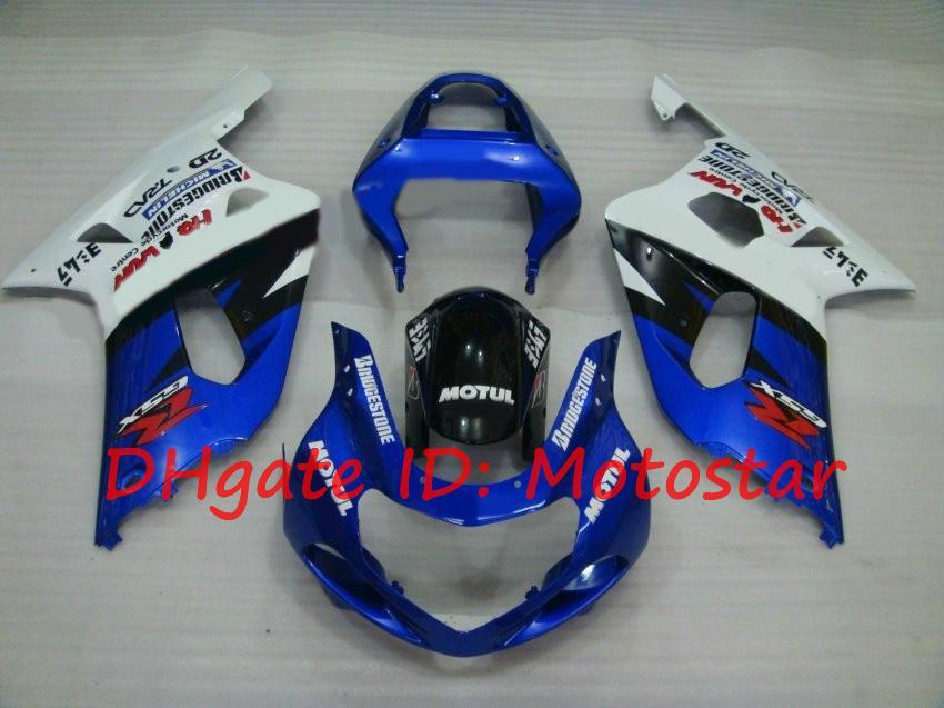 Kit de carenagem azul MOTUL para Suzuki GSXR600 GSXR750 2001 2002 2003 S61Q GSXR 600 750 K1