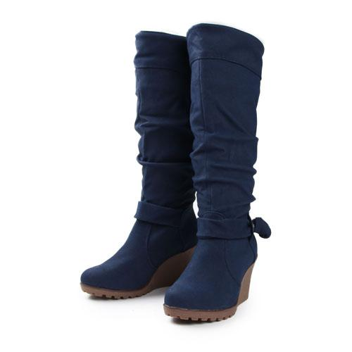 Fashion Women's Mid Calf Snow Boots Round Toe Winter Wedges Boots ...