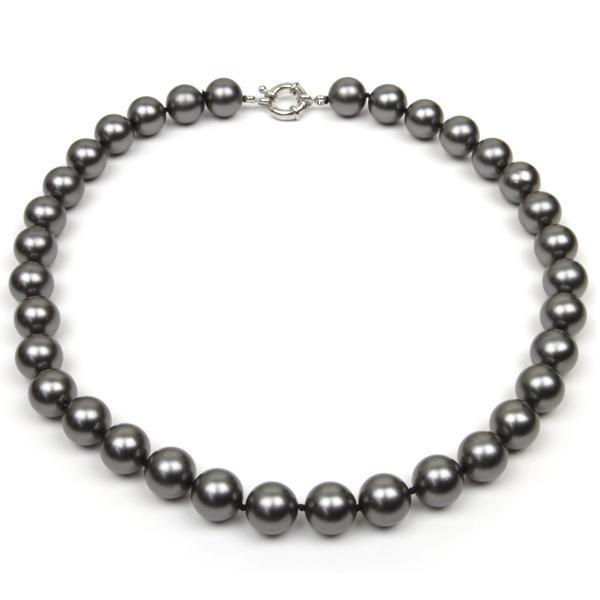 18inch runde schwarze Farben-SeeMuschel-Perlen-Halskette große 12mm Perlen-Art- und Weiseschmucksachen neues freies Verschiffen