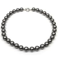 gran collar de moda negro al por mayor-18 pulgadas de color negro redondo concha de mar collar de perlas grande 12 mm perla joyería de moda nuevo envío gratis
