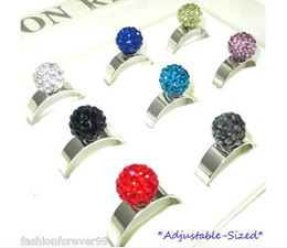 Wholesale Disco Ball Rings - fashion crystal disco ball rings women adjustable ring mix color cheap wholesale